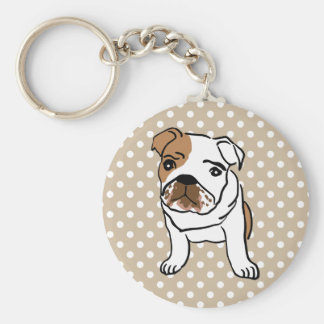 Cute English Bulldog Illustration Keychain