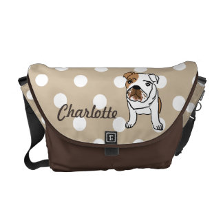 Cute English Bulldog Illustration Messenger Bag