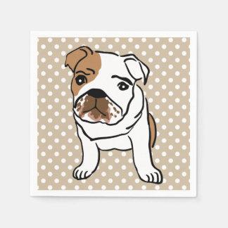 Cute English Bulldog Illustration Napkin