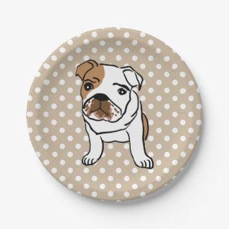 Cute English Bulldog Illustration Paper Plate