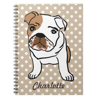 Cute English Bulldog Illustration Spiral Notebook