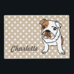 """Cute English Bulldog Personalized Placemat<br><div class=""""desc"""">Cute English Bulldog Illustration   Designs for any Occasion. More designs and matching items are available at my store. - http://www.zazzle.com/designbylang* -  Thanks for visiting!</div>"""