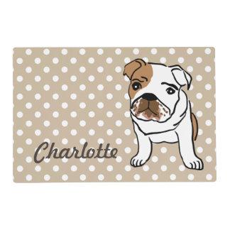 Cute English Bulldog Personalized Placemat