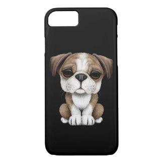 Cute English Bulldog Puppy on Black iPhone 8/7 Case