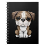 Cute English Bulldog Puppy on Black Spiral Note Book