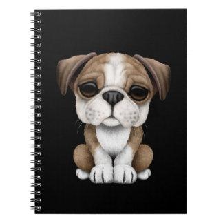 Cute English Bulldog Puppy on Black Spiral Notebook