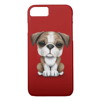 Cute English Bulldog Puppy on Red iPhone 8/7 Case