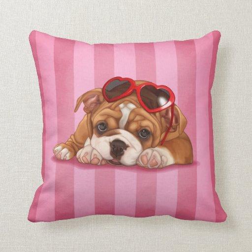 Cute english bulldog puppy throw pillows Zazzle