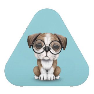 Cute English Bulldog Puppy Wearing Glasses Blue Speaker