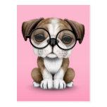 Cute English Bulldog Puppy Wearing Glasses Pink Postcard