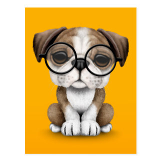 Cute English Bulldog Puppy Wearing Glasses Yellow Postcard