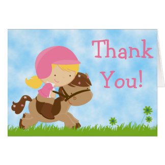Cute English Horseback Riding Girl Thank You Cards
