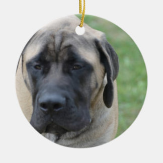 Cute English Mastiff Double-Sided Ceramic Round Christmas Ornament