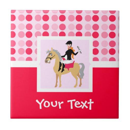 Cute Equestrian Girl. Ceramic Tile