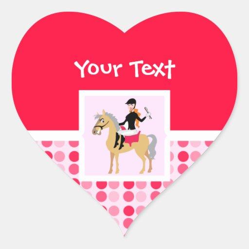 Cute Equestrian Girl. Heart Sticker