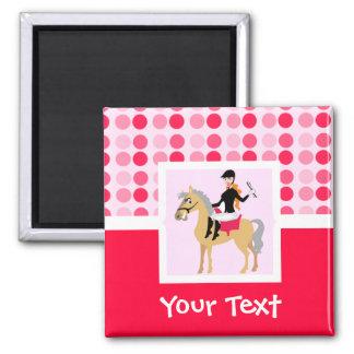 Cute Equestrian Girl. 2 Inch Square Magnet