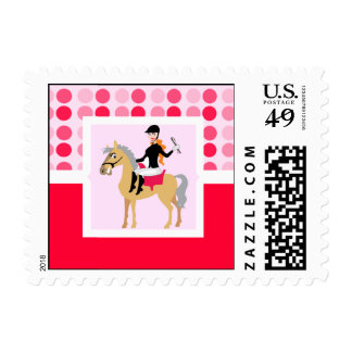 Cute Equestrian Girl. Postage Stamps