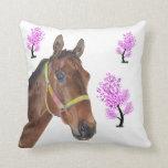 Cute Equestrian Thoroughbred Horse Pillow
