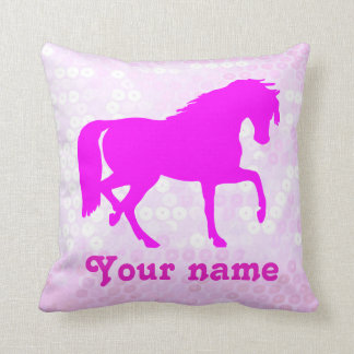 Cute Equestrian With Your Name Throw Pillow