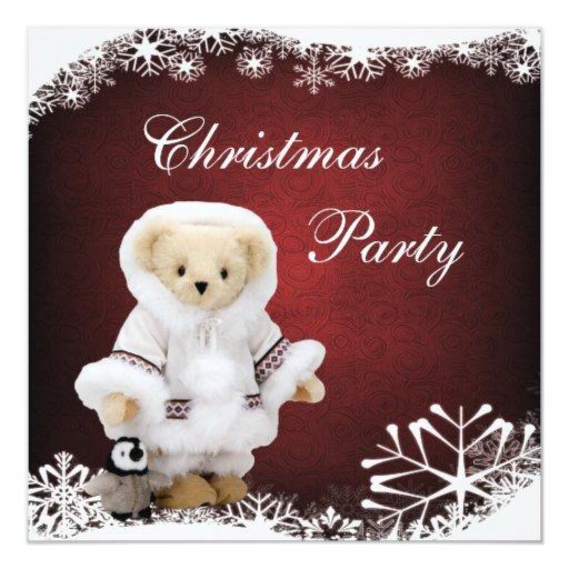 Cute Eskimo Teddy Bear & Penguin Christmas Party Card