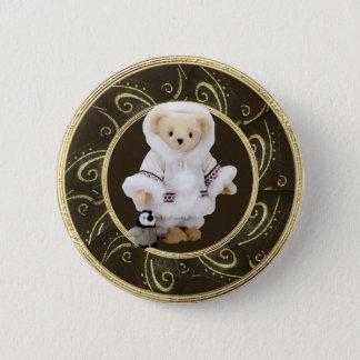 Cute Eskimo Teddy Bear & Penguin Classy Button