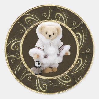 Cute Eskimo Teddy Bear & Penguin Classy Stickers