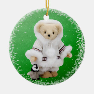 Cute Eskimo Teddy Bear & Penguin Ornament