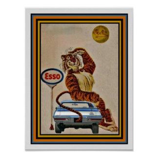 Cute Esso Gas Tiger Ad Poster 12 x 16