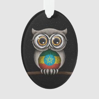 Cute Ethiopian Flag Owl Wearing Glasses Ornament
