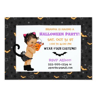 Cute Ethnic Baby Girl Cat Costume Halloween Party Card