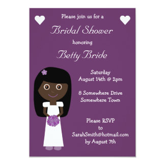 Cute Ethnic Bride Purple Bridal Shower Card