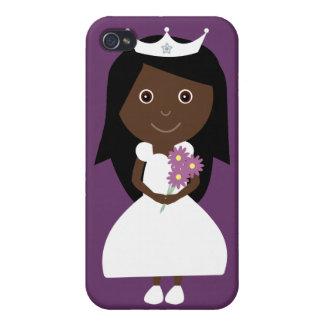 Cute Ethnic Cartoon Princess Customizable Purple iPhone 4 Cases