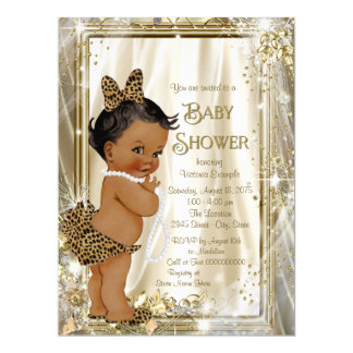 Cute Ethnic Girl Leopard Pearl Baby Shower Card