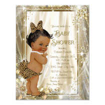 Cute Ethnic Girl Leopard Pearls Baby Shower Card
