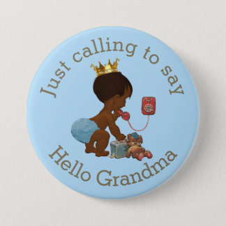 Cute Ethnic Prince Calling to Say Hello Grandma Pinback Button