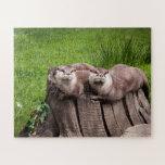 Cute Eurasian Otters animal photography Jigsaw Puzzle