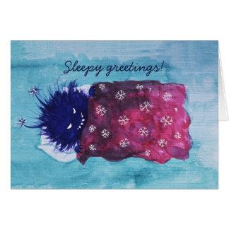 Cute Evil Bug Loves To Relax Sleepy Greetings Card