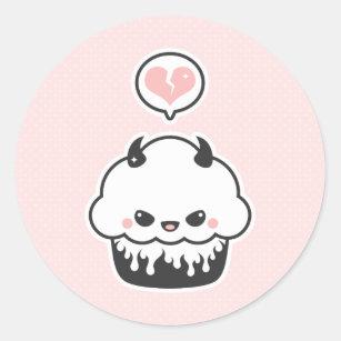 Cute Evil Cupcake Classic Round Sticker