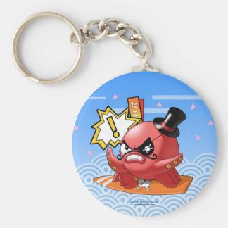 Cute Evil Octopus with Mustache and Surfboard Keychains