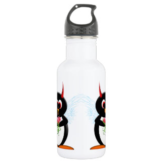 Cute Evil Penguin Water Bottle