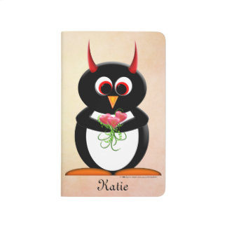 Cute Evil Penguin with Flowers Journals