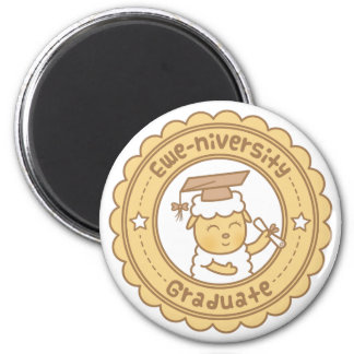 Cute Ewe University Graduate Sheep Pun Button Magnet