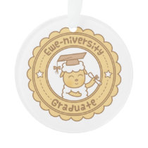 Cute Ewe University Graduate Sheep Pun Humor Ornament