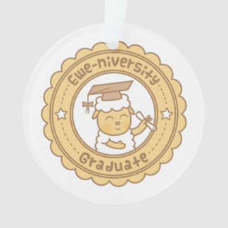 Cute Ewe University Graduate Sheep Pun Humor Ornament