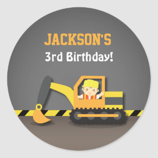 Cute Excavator Construction Birthday Party Labels