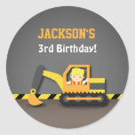 Cute Excavator Construction Birthday Party Labels Classic Round Sticker