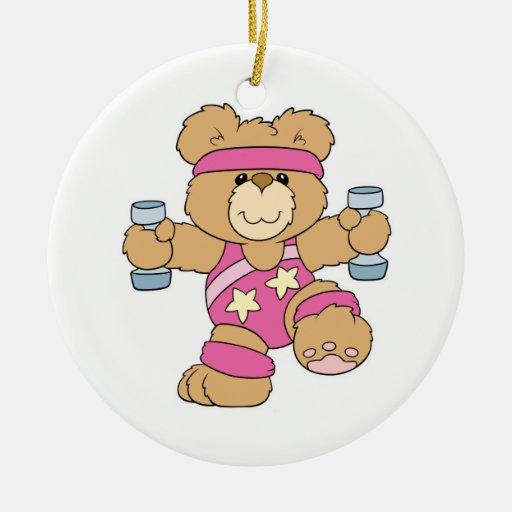 Cute Exercise Fitness Aerobics bear Christmas Tree Ornament
