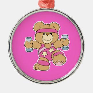 Cute Exercise Fitness Aerobics bear Round Metal Christmas Ornament
