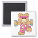 Cute Exercise Fitness bear 2 Inch Square Magnet