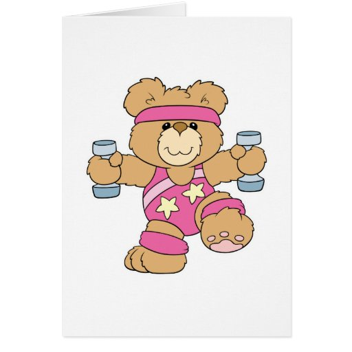 Cute Exercise Fitness bear Greeting Card